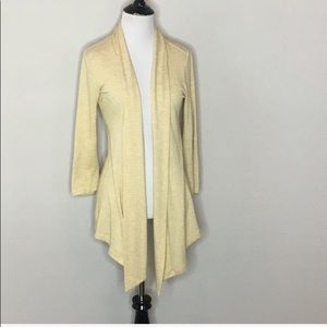 Bobeau yellow striped open cardigan - Size S